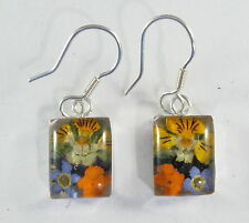 925 sterling silver small rectangular dangle earrings with real flowers