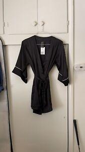 Womens H&M Black Silky Robe PJ Lingerie Sexy