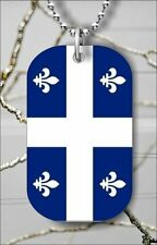 "FLEUR DE LIS QUEBEC FLAG DOG TAG PENDANT and ""FREE CHAIN"" re34qc-"