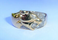 Gents 9ct Gold & Diamond Panther Ring, Size S