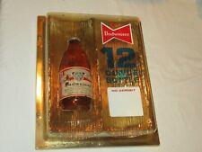 VINTAGE BUDWEISER BEER 12 OUNCE BOTTLE SIGN 1960'S ADVERTISING