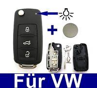 3Tasten Klappschlüssel Fernbedienung Gehäuse für VW T5 Golf 6 PASSAT + Batterie