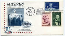 1116 4c Lincoln Sesquicentennial StarCraft by Gilmond with #1113-14 FDC
