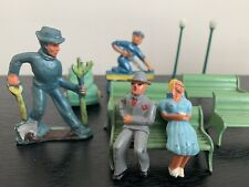 Vintage Train Set Americana- Park benches, figurines, lamp posts and people
