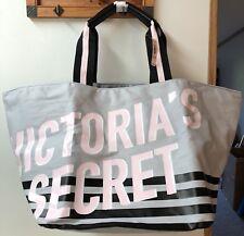 Victoria's Secret 2018 Striped Tote Bag Weekender Overnighter Getaway Bag Gray