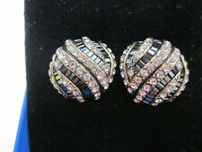 Clip Ons Rose and Black Heidi Daus Sparkling Obsession Crystal Earrings