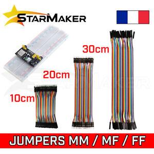 Câble Jumper Dupont 10 20 30 cm 40pcs Mâle Femelle fils + Breadboard 400 830 pts