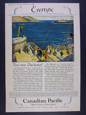 1928 Canadian Pacific Duchess of Bedford & Atholl Ships vintage print Ad