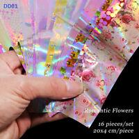 10Pcs Nail Foils Flower Rose Leopard Series Art Transfer Sticker Accessories