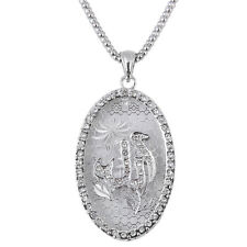 Silver Pt Engraved Oval Crystal Allah Necklace Islamic Muslim Quran God Islam