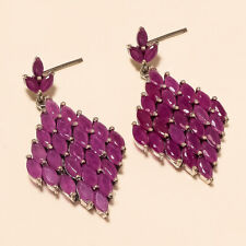 Natural Burmese Red Ruby Earrings 925 Sterling Silver Screw Back Jewelry Gifts