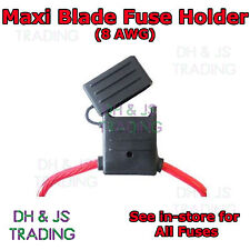 Maxi Blade Fuse Holder Splash-Proof 80A 8 AWG Cable In Line Car Auto