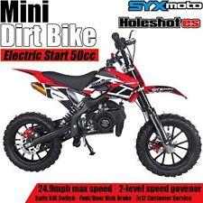 Syxmoto Electric Start Mini Dirt Bike Gas2-Stroke 49cc Motorcycle Beginner,Red