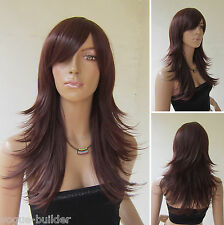Long Reddish Brown Heat resistant Flip Curly Cosplay Wig Color 33# Free shipping