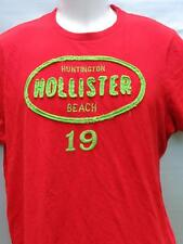 HOLLISTER Huntington Beach 19 neon green stitched red Surfer Cut T-shirt mens L