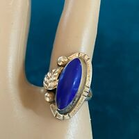 Vintage Sterling Silver 925 Taxco Mexico Lapis Lazuli Ring Size 5