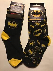 2 pack Boys Black Socks with Batman detail.