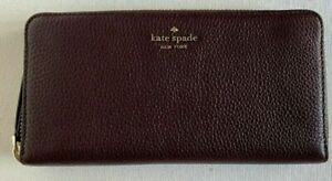 New Kate Spade Jackson Large Continental wallet Leather Chocolate Cherry