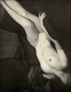 1937 Alfred Cheney Johnson Nude Female Upside Down Chair Art Deco Photo Litho