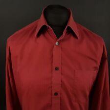 Camisa de hombre de Hugo Boss 42 16.5 (XL) Rojo Manga Larga De Algodón Patrón no regular fit