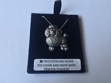 D3 Poodle on a 925 sterling silver Necklace Handmade 18 inch chain