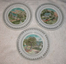 Set of 3 Roy Thomas Plates The Four Seasons Currier & Ives Spring, Summer Autumn