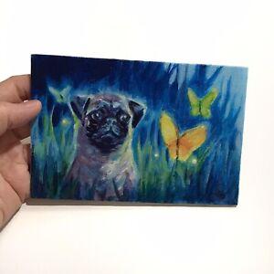 Pug Dog Art original painting butterflies pugs pet artwork artist made Animals