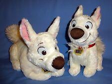 "Disney Plush Bolt Dog-sitting-12"" Stuffed Bolt Lying down-16"";White dog LOT-2"