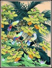 """Original Balinese Painting """"Rainbow Sparrows at Sunset"""" (31"""" H x 23.25"""" W)"""