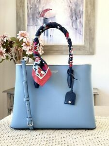 Kate Spade eva scarf handle medium top zip satchel Leather Baltic Sea / Silver