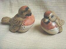 2 Adorable & Unique ROBIN BABY BIRD Hand Painted Plaster Ware Figures