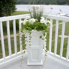 Column Planter 16 in. Square Plastic White Finish with Built-In Water Reservoir