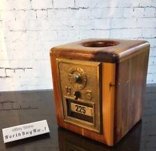 *RARE* BRASS POST OFFICE BOX DOOR Mail Postal TISSUE BOX Wood OOAK Handmade VTG