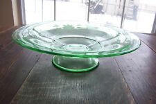 Green Depression Glass Pedestal Fruit Bowl with Etched Floral Design