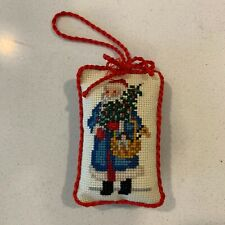Vintage Completed Cross Stitch Christmas Ornament Victorian Santa with Basket