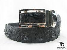 "PELGIO Genuine Crocodile Alligator Head Bump Skin Leather Men's Belt 46"" Black"