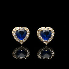 1Ct Heart Sapphire Blue & Created Diamond Halo Earrings 14K Yellow Gold Studs