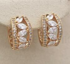 18K Gold Filled - Tiger Eye Hollow Leaf Topaz Multilayer Wedding Hoop Earrings