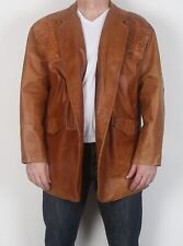 "Leather Fitted Jacket XXL 46"" 48"" Brown 70's  (HBM)"