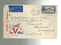 1943 New Zealand Censored Patriotic Airmail Cover to Colonel in Australia army