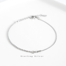 "Anklet 7.5"" Chain Gift Jewelry Pe34 Solid 925 Sterling Silver Ball Bead Bracelet"