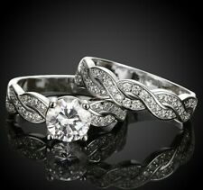 2 PC SET Round Cut Wedding Ring and Band Set Size 6-9 in 18K White Gold ITALY