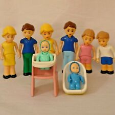 Vintage Little Tikes Blue Roof Dollhouse Family: Dads Moms Girl Boy Babies +