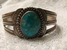 Blue Turquoise Cuff Bracelet 1920's Navajo Ingot Silver and