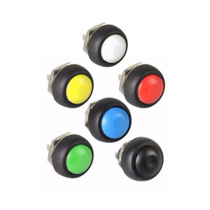 2 x 12mm Round Push Button Momentary Switch Black White Red Yellow Blue Green
