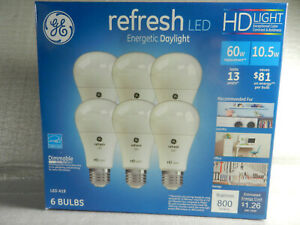 New GE Refresh Led HD Light Bulbs 6 pack Daylight 10.5w 60w