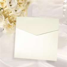 SQUARE POCKETFOLD INVITATION WHITE PEARLISED 290GSM + MATCHING ENVELOPE/ INSERT