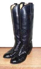 CHARLIE DUNN Black Ostrich Leather Cowboy Boots Texas Traditions - UK 5.5 US 8