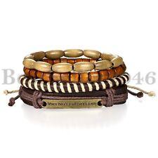 4pcs Sets Inspiration Leather Wood Beaded Cuff Wristband Bracelets for Men Women