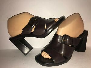 ENZO ANGIOLINI SZ 7 BROWN BUCKLE SLIP ON OPEN TOE CHUNKY HEEL WOMEN PUMPS RC5-7